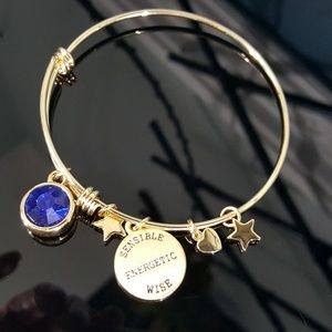 Jewelry - Simulated Sapphire Charm Bangle Bracelet